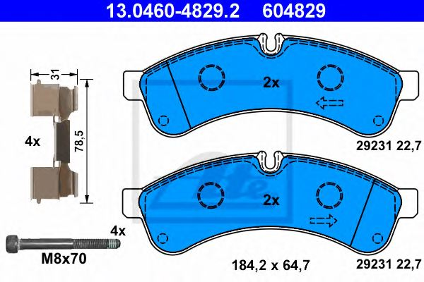 Iveco Daily Van 5//2014-/> 2.3 3.0 Front Brake Pads Set W163-H67-T20