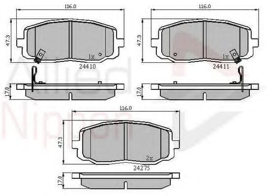 Adb31319 Comline Adb31319 Brake Pad Set  Disc Brake For Hyundai Kia