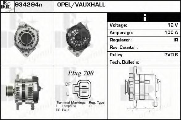 934294n edr 934294n alternator for opel vauxhall. Black Bedroom Furniture Sets. Home Design Ideas