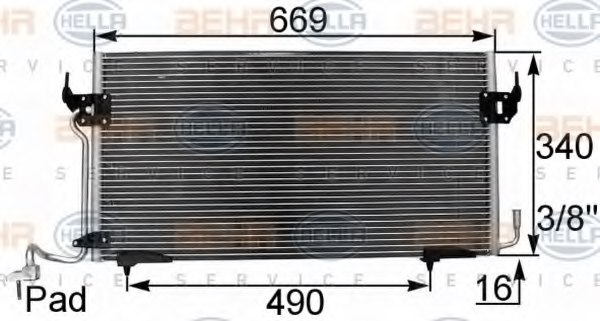 HELLA 8FC 351 037-151 Condenser, air conditioning