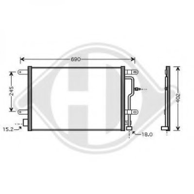 VW 8E0260401D Condenser, air conditioning